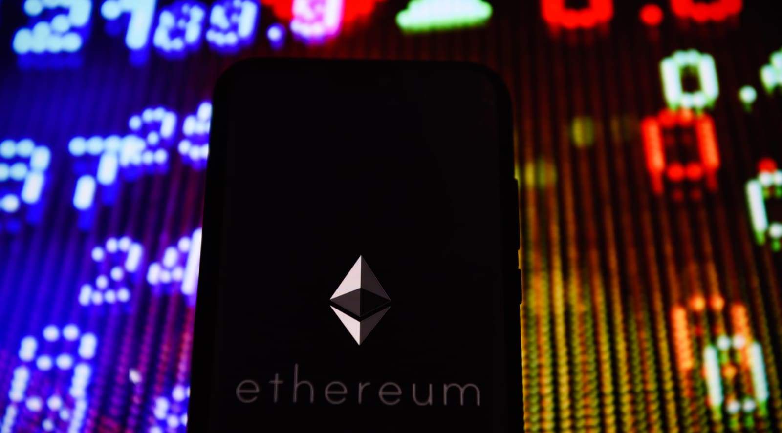 Crypto currency Ethereum  logo is seen on an android mobile