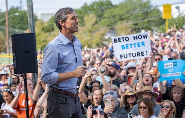 Democratic candidate for the US Senate Beto ORourke addresses his last public event in Austin before...