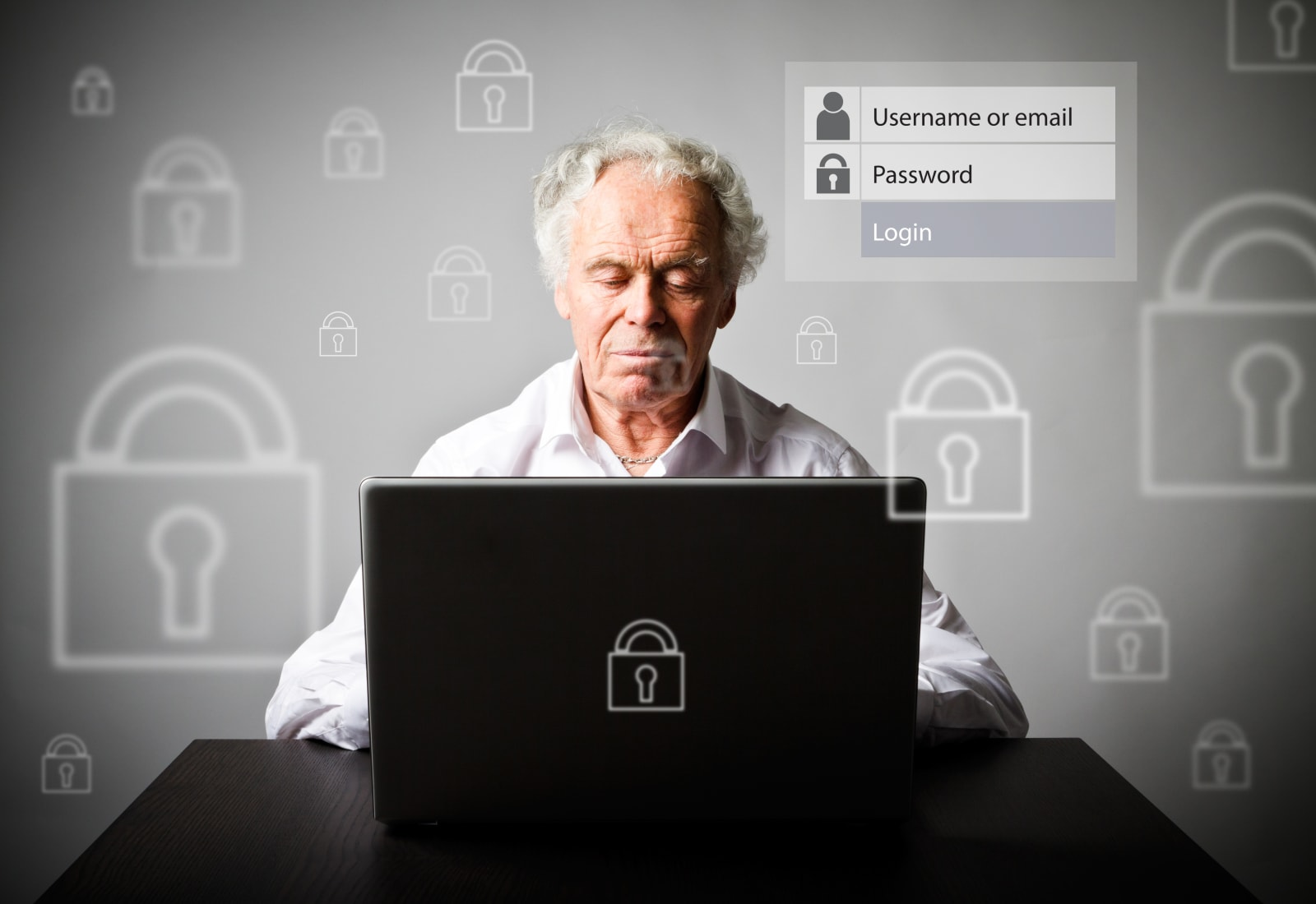 Old man is using a laptop to browse the net. Forgot password concept.