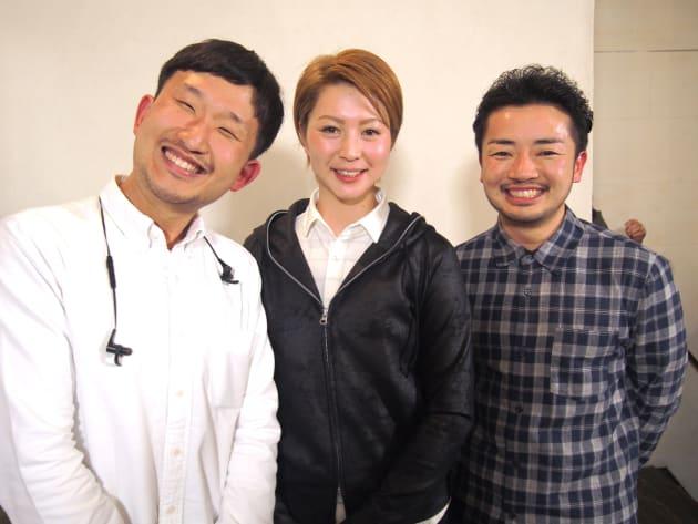 登壇者の3人。任意団体「やる気あり美」代表で、イベントのモデレーターをつとめた太田尚樹さん(左)。滝沢ななえさん(中央)。irodoriのオーナーでもあり、トランスジェンダー活動家の杉山文野さん(右)。