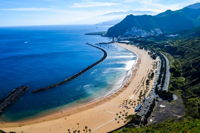 Sandy beach in holiday resort, Santa Cruz de Tenerife, Tenerife, Spain