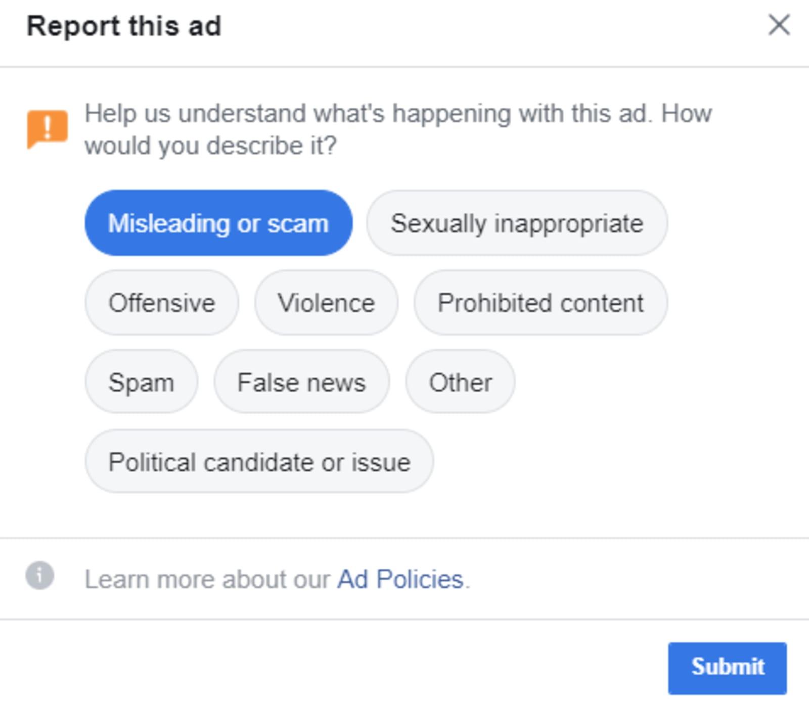 Facebook's scam ad reporting tool