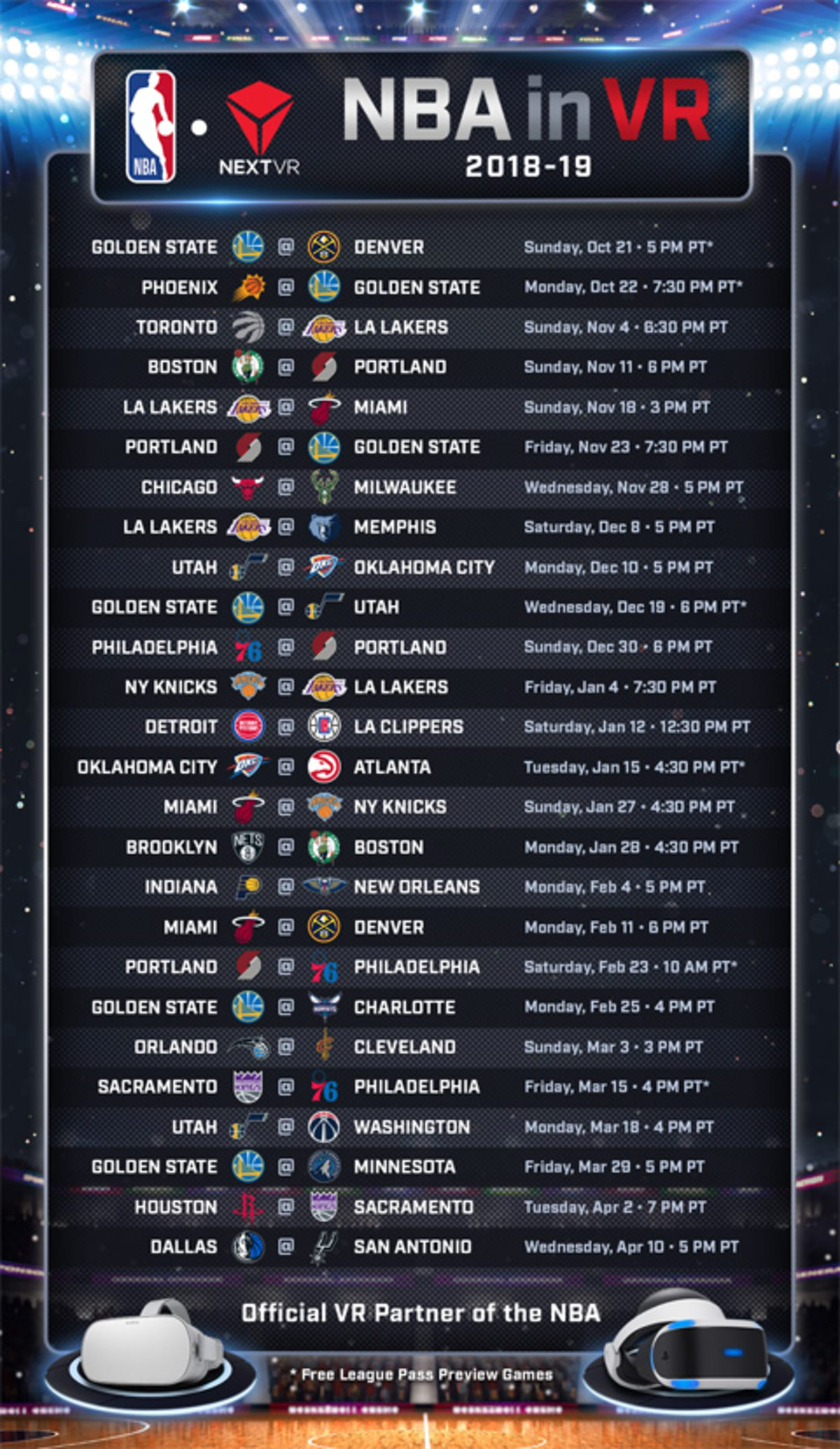 NBA League Pass 2018-2019 VR schedule