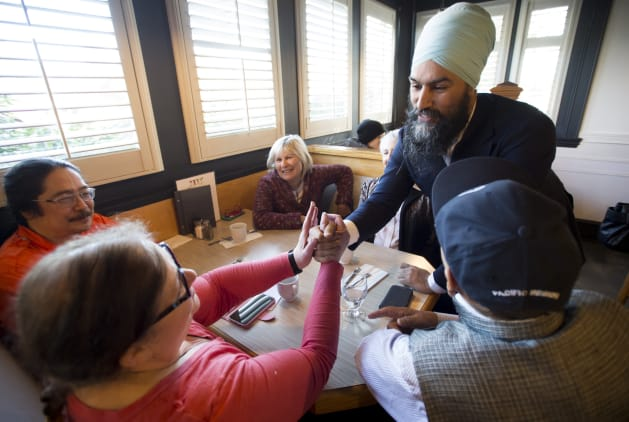 Federal NDP leader Jagmeet Singh greets supporters prior to an announcement in Coquitlam, B.C., on April...