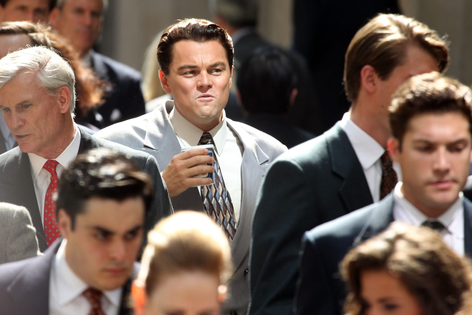 "Leonardo DiCaprio on set  movie ""Wolf of Wall Street (Photo by Mehdi Taamallah/NurPhoto via Getty Images)"