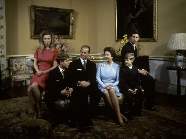 The royal family at Buckingham Palace in 1972. Left to right: Princess Anne, Prince Andrew, Prince Philip, Queen Elizabeth, Prince Edward and Prince Charles.