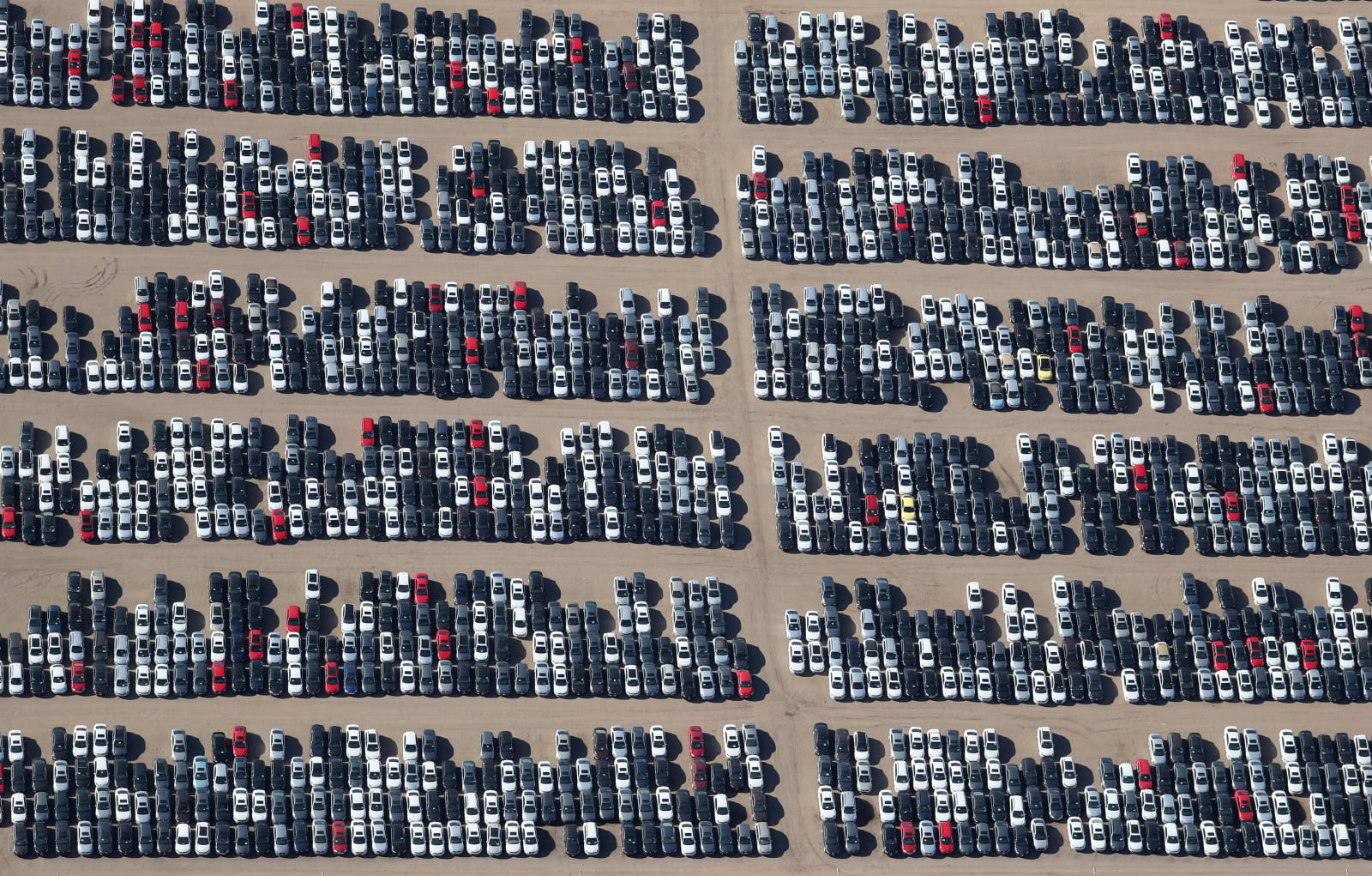 Volkswagen and Audi diesel cars at rest in the desert near Victorville, California.