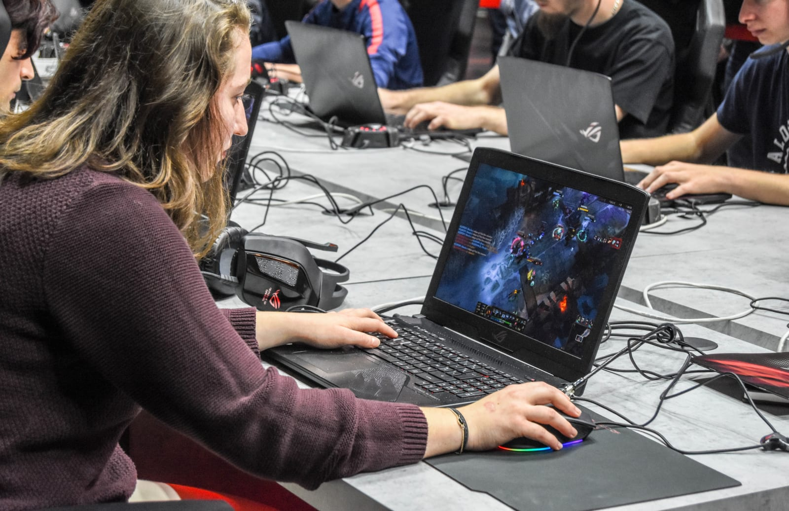 A female participants seen playing online game on a laptop...