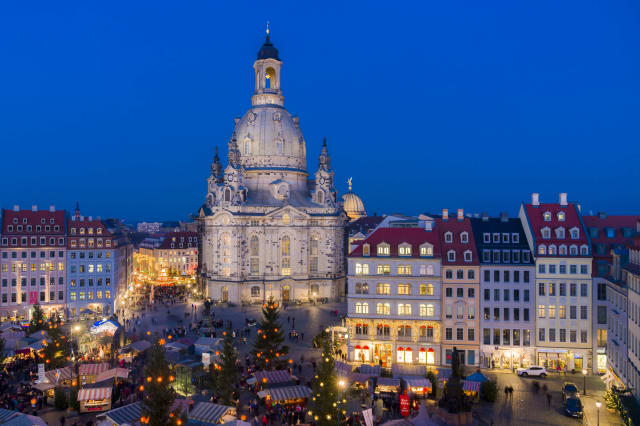 The historical, Renaissance-style Christmas market at...