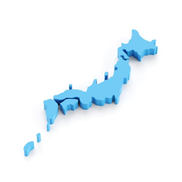 Accurate 3d map of Japan isolated on white