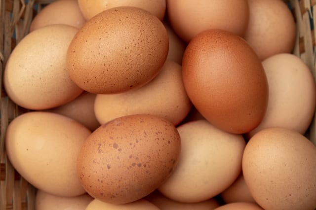A Basket of Hens Eggs from Above