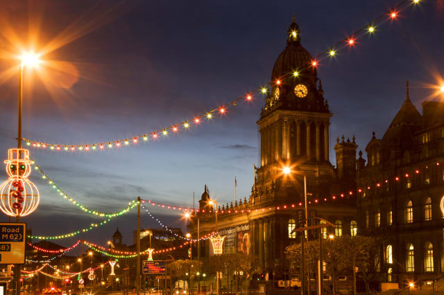 Town Hall and Christmas lights on The Headrow, Leeds, West Yorkshire, Yorkshire, England, United Kingdom, Europe