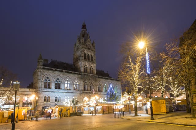Chester town hall on Northgate Street at Christmas