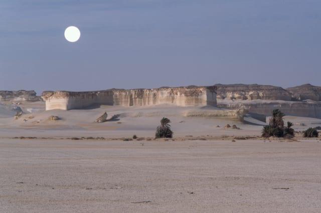 View of El Arag at dawn with moon, Sahara desert