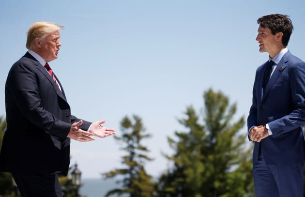 Donald Trump with Justin Trudeau at the G7 Summit on June