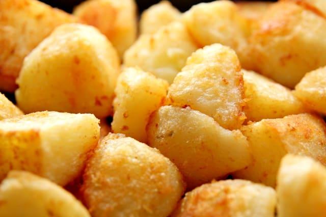 Roast Potatoes. Close up.