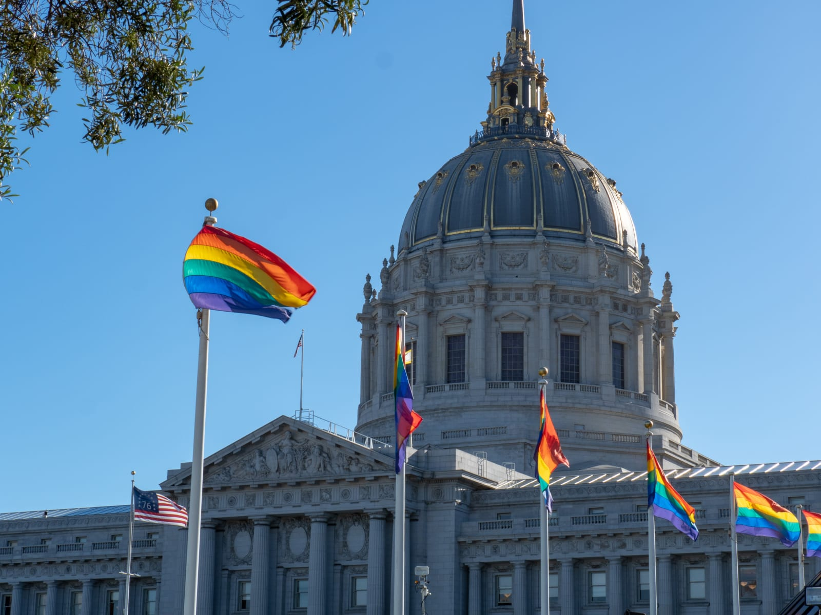 Gay Pride flags flying outside of San Francisco City Hall