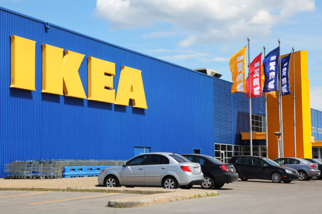 IKEA Store Building and Flags
