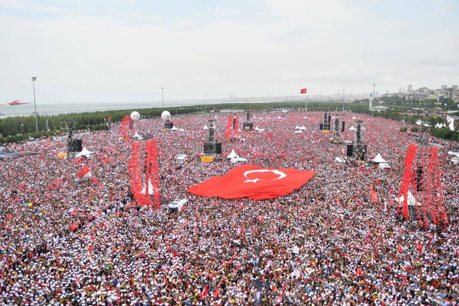 Manifestación a favor de Muharrem Ince, candidato a la presidencia del partido principal de oposición