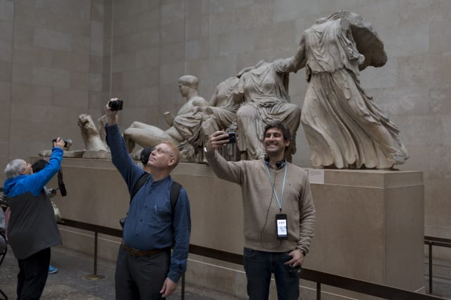 Visitors And Elgin Marbles In The British Museum