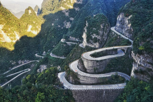 High Angle View Of Road At Tianmen Mountain