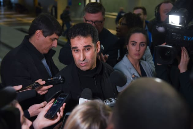 Ahmed Cheddadi, who was in the mosque during the Quebec mosque attack, talks to the press on Friday.