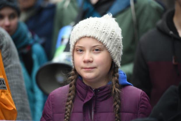 Greta Thunberg dans une manifestation à Hambourg en Allemagne, le 1er mars