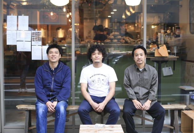 (左から)「クリスチアノ」佐藤幸二さん、「チーズスタンド」藤川真至さん、「パス」原太一さん