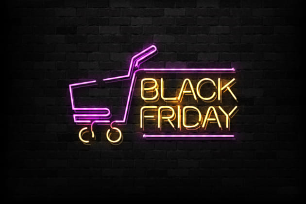 Vector realistic isolated neon sign of Black Friday logo for decoration and covering on the wall background. Concept of sale and discount.
