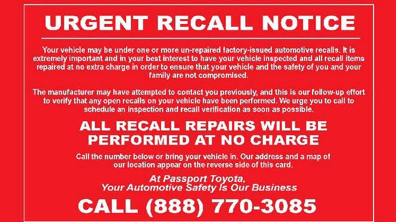 Passport Automotive fake recall notice