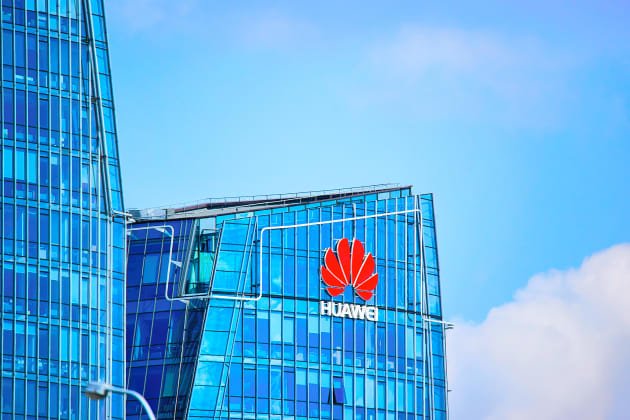 Vilnius, Lithuania - August 8, 2017: Huawei Technologies company headquarter at the modern office building skyscraper in the business district of Vilnius, Lithuania.