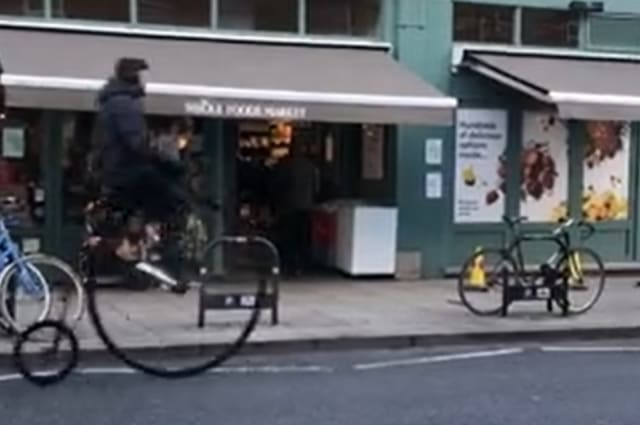 Penny-farthing rider comes a cropper