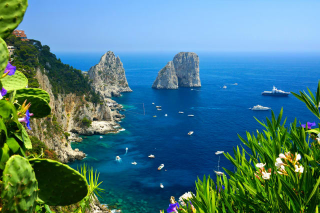 Capri coast with Faraglioni rocks, flowers and boats, Italy