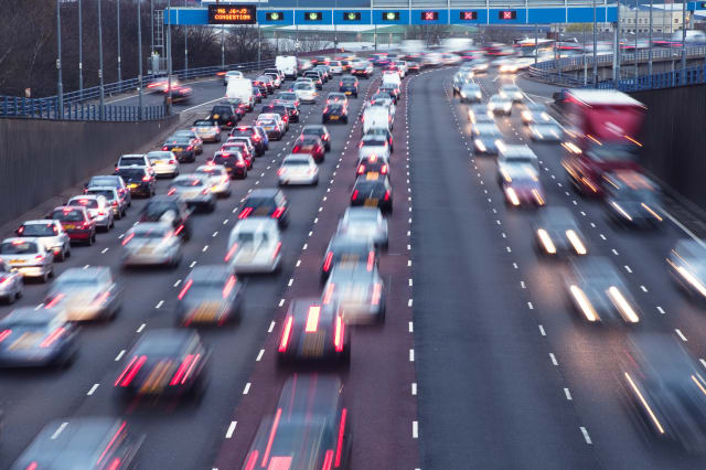Rush hour on urban motorway Birmingham UK