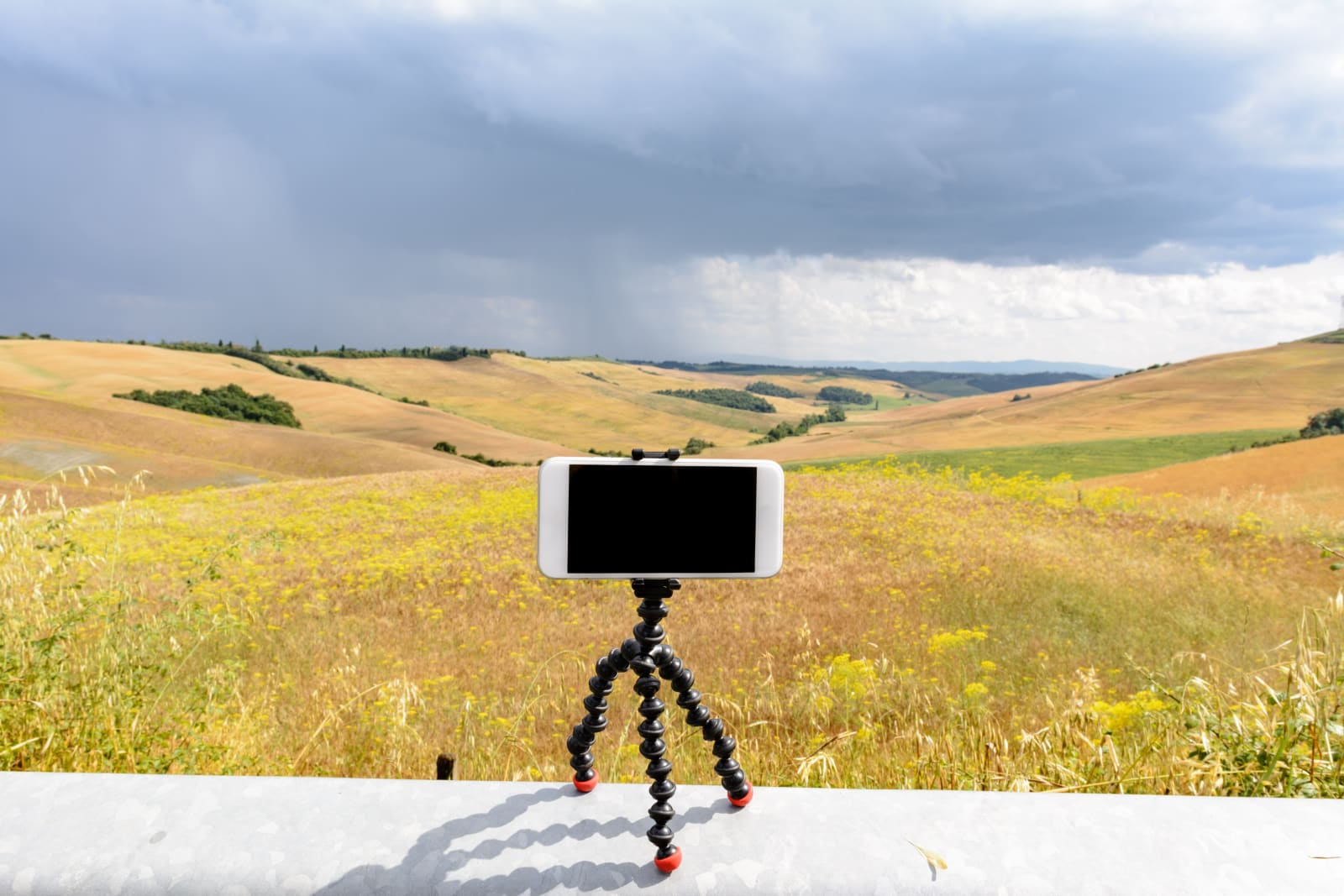 Smartphone on its magnetic tripod