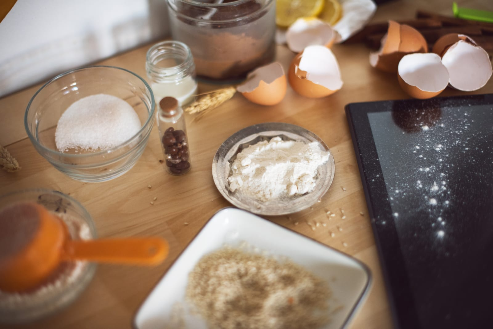 Baking ingredients on messy table