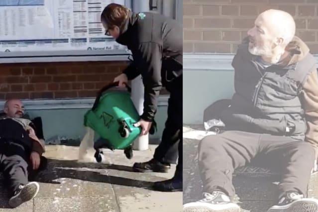 Homeless man at rail station