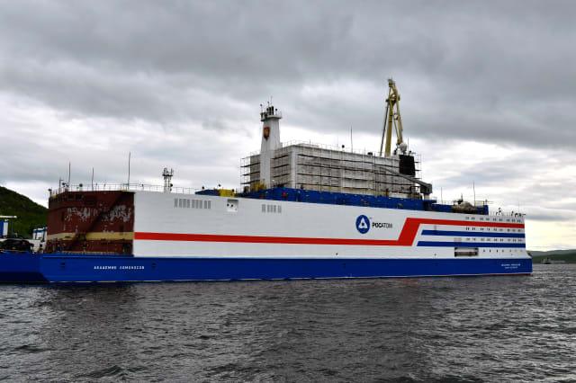 Akademik Lomonosov floating nuclear power units hull painted at Atomflot base in Murmansk, Russia