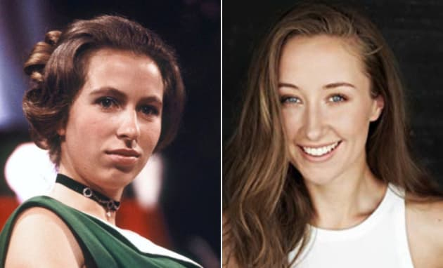 Left: Princess Anne at the Society of Film and Television Awards on March 4, 1971. Right: Erin Doherty.