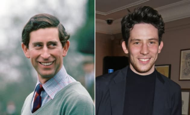 Left: Prince Charles fishing, 1970s. Right: Josh O'Connor in London on Feb. 16, 2018.