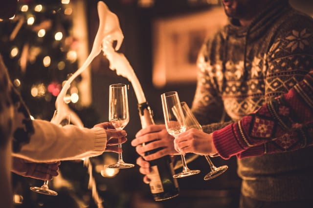 Opening champagne on New Year's party!