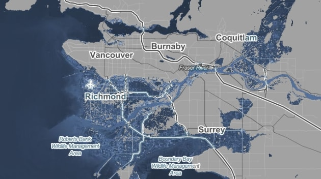 The screencap from Climate Central's website shows the extent of coastal flooding that Greater Vancouver...