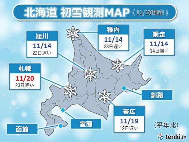 北海道 初雪観測MAP