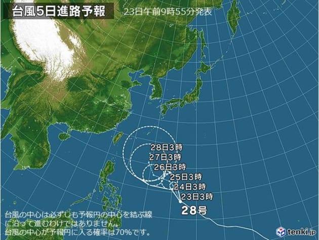台風5日進路予報