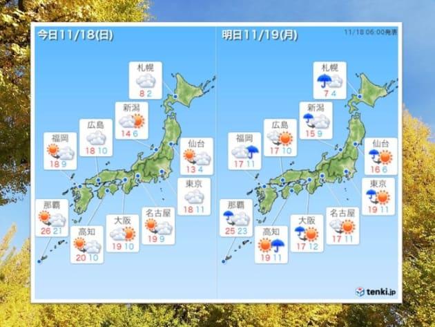11月18日、19日の全国天気