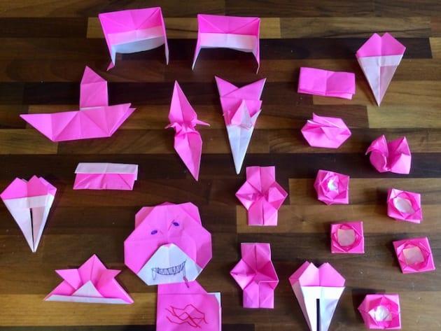 長女作、ピンクの折り紙シリーズ