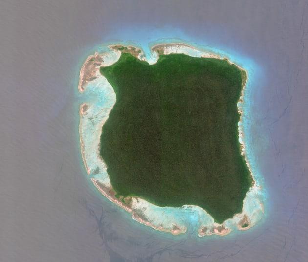 北センチネル島の衛星写真(2018年3月5日撮影)