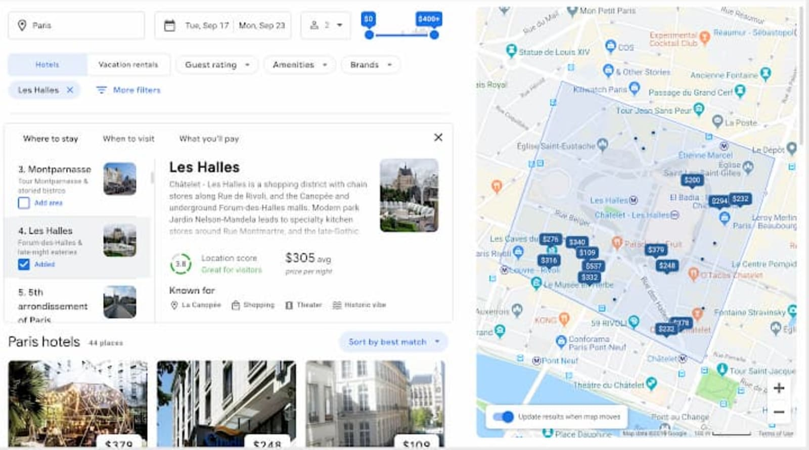 Google Travel hotel information