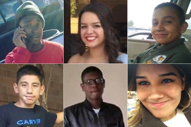 (上段左から時計回りに)レイモンド・フィリップさん(15歳)、アリッサ・ネイズさん(17歳)、ジェイ・ディアズさん(15歳)、エイリーン・ヴィヴェロス-ヴァーガスさん(18歳)、デークワン・トバーさん(17歳)、アンドレス・デルゴドさん(14歳)