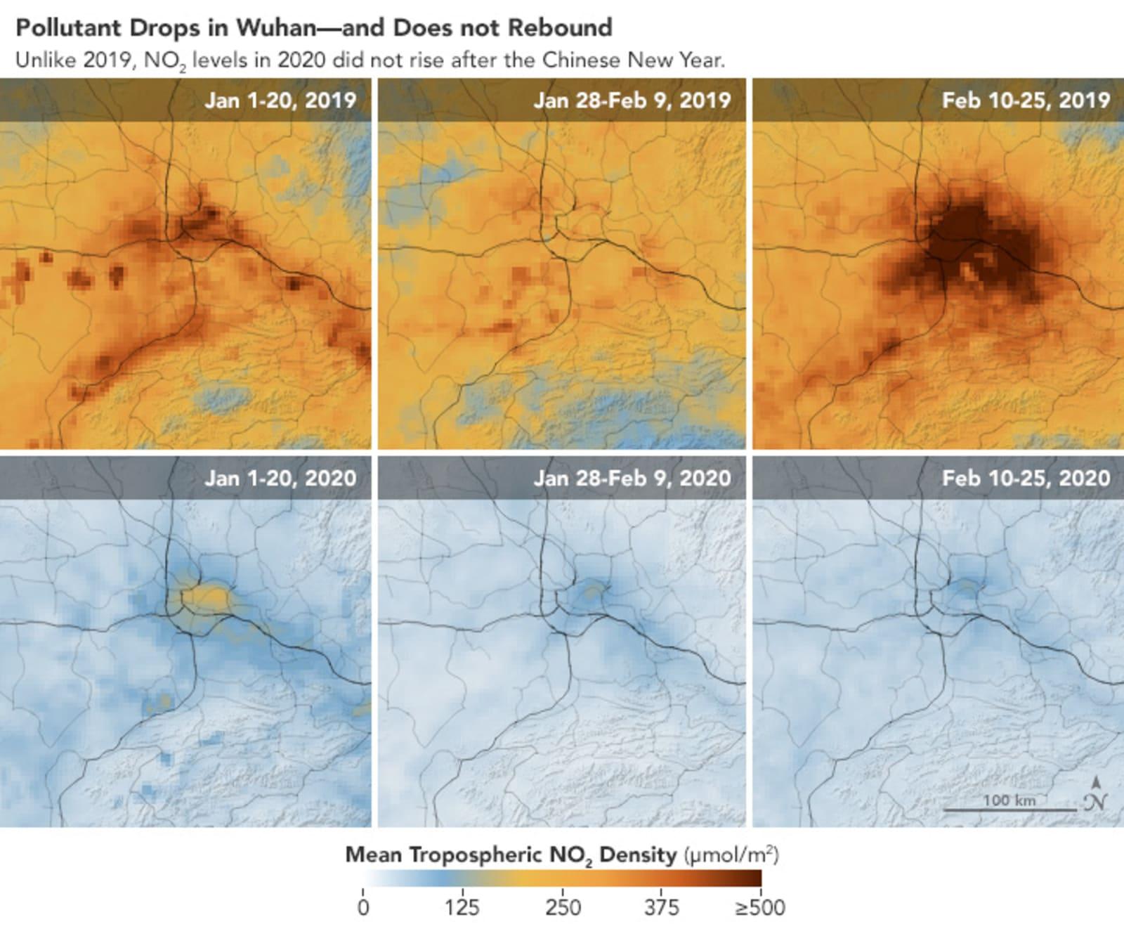 Wuhan pollution level drop over coronavirus
